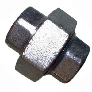 """Driedelige sok Rp2.1/2"""", conisch dichtend, Gietijzer zwart, 25 bar"""