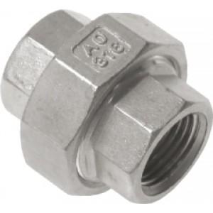 """Driedelige sok Rp1/2"""", vlak dichtend, RVS AISI 316, 16 bar"""