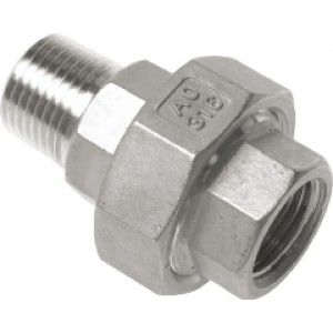 "Driedelige verloopnippel R1.1/2"" - Rp1.1/2"", conisch dichtend, RVS AISI 316, 16 bar"