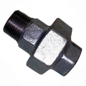 "Driedelige verloopnippel R2"" - Rp2"", conisch dichtend, Gietijzer zwart, 25 bar"