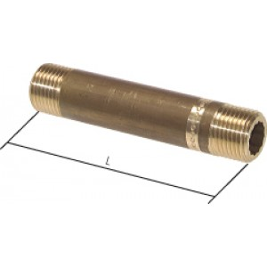 "Pijpnippel R1.1/4"", L150, Messing, 16 bar"