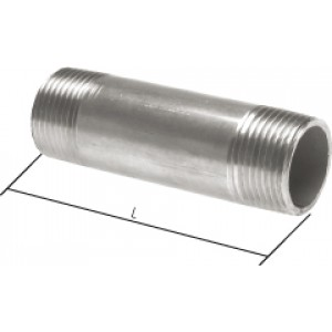 """Pijpnippel R1"""", L400, RVS AISI 316Ti, 16 bar"""