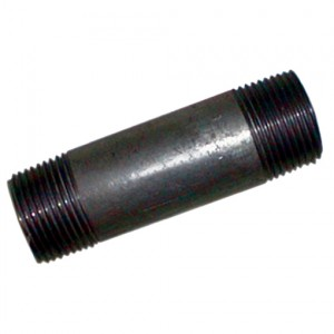 """Pijpnippel R1"""", L200, Staal zwart, 16 bar"""