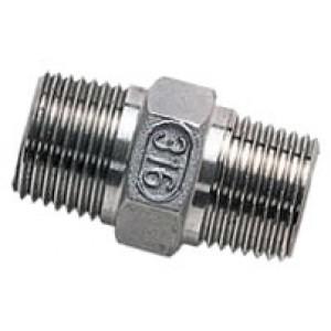 """Borstnippel R3/8"""" - R3/8"""", RVS AISI 316L, 16 bar"""