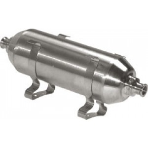 RVS Persluchtketel 0,1 liter, 16 bar (1.4301), inclusief 2 montageklemmen