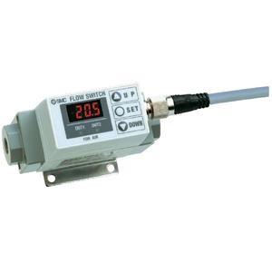 """Flowmeter met display 10 tot 100 l/min, 2x PNP, G3/8"""" binnendraad"""