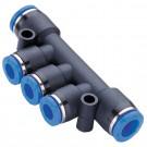 T-Insteek verdeelblok 2x(10mm) - 3x(8mm) met 3 gereduceerde uitgangen