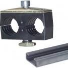 Dubbele buisklem 38 mm, met draagrailmoer type KMA voor de