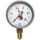 """Sleepwijzer manometer onderaansluiting Ø100, 0 tot 40 bar, G1/2"""""""