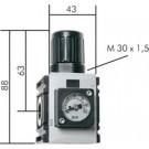 """Rijgbare Drukregelaar G1/4"""", 0,5 - 10 bar, met compactmanometer"""