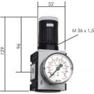 """Rijgbare Drukregelaar G3/8"""", 0,1 - 1 bar"""